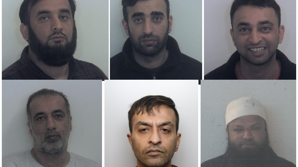 Clockwise from top left: Tayab, Nasser and Basharat Dad, Matloob Hussain, Mohammed Sadiq. Amjad Ali pleaded guilty in February