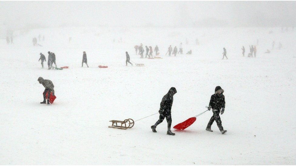 People sledging during blizzards in Whitley Bay, North Tyneside
