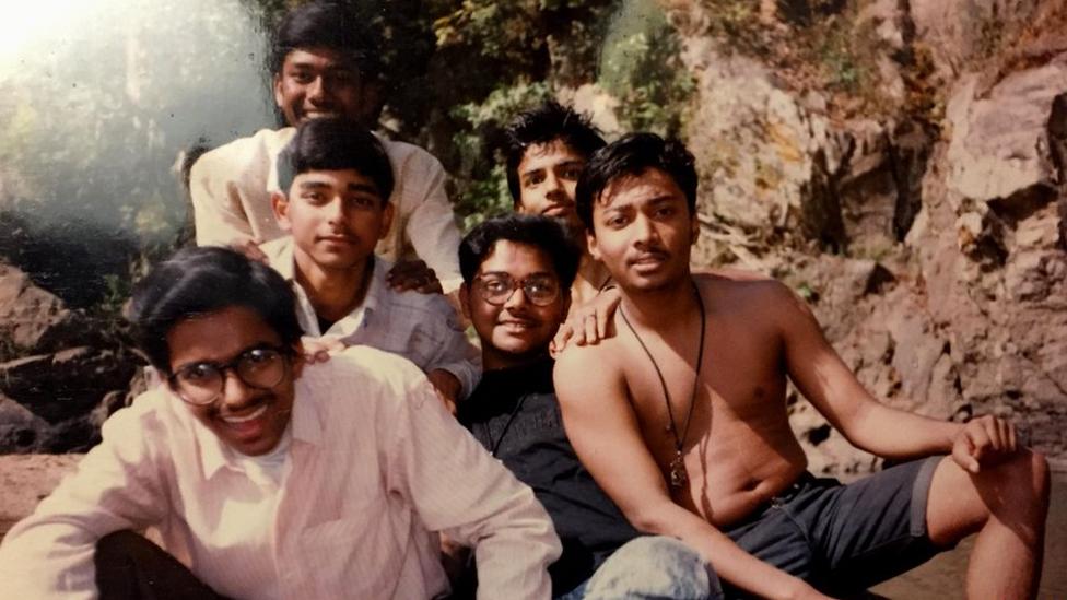 A young Ambarish Mitra (centre) and friends