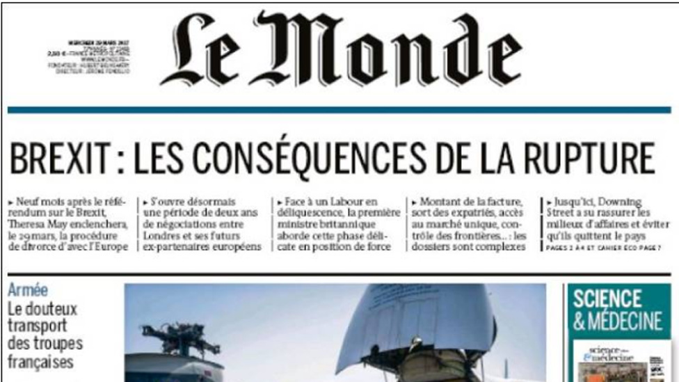 Front cover of Frenchnews paper Le Monde