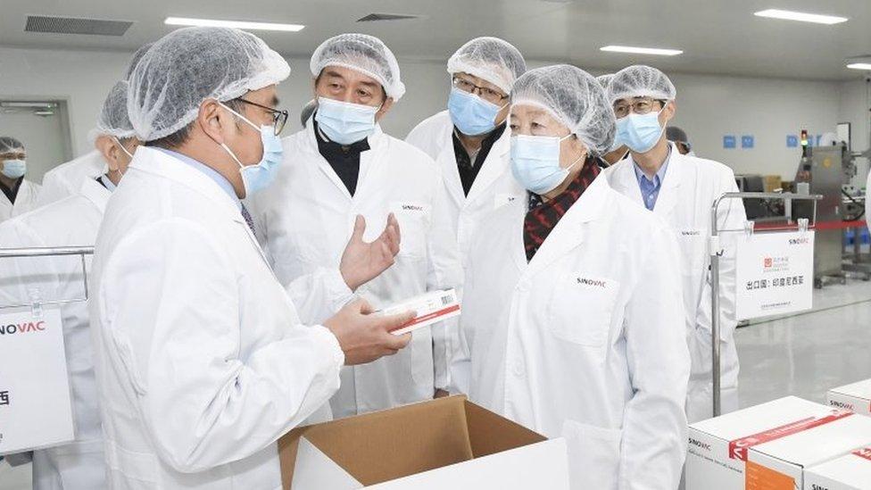 Funcionários da Sinovac em fábrica da empresa na China