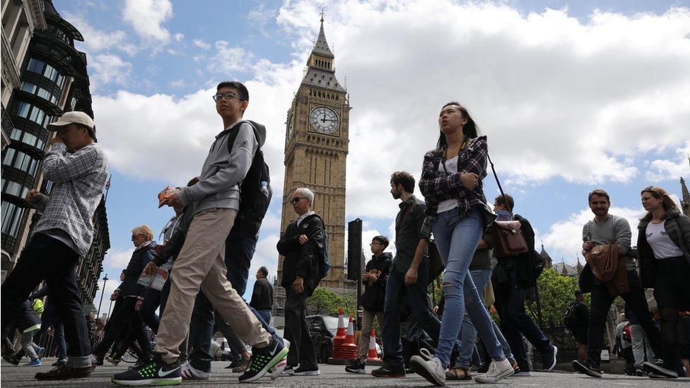 People walking past Big Ben