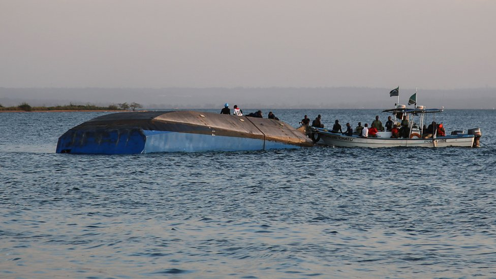 MV Nyerere ferry after it capsized in Tanzania