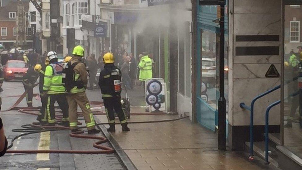 The blaze on Winchester High Street