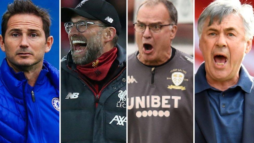 Chelsea manager Frank Lampard (left), Liverpool boss Jurgen Klopp, Leeds boss Marcelo Bielsa and Everton boss Carlo Ancelotti