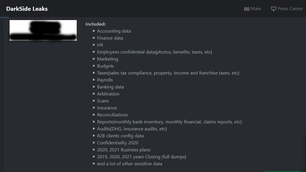 DarkSide'ın internet sitesinde, hack'lenen şirketlerden hangi bilgilerin çalındığının listesi yer alıyor.