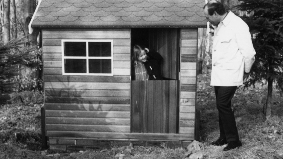 Shelley Klein in a Wendy house
