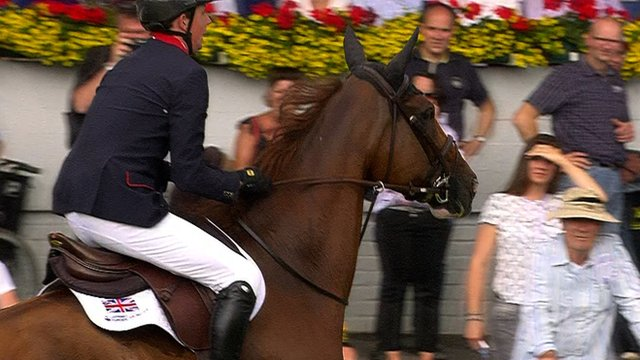 Ben Maher keeps his balance on his horse Diva II at the European Equestrian Championships