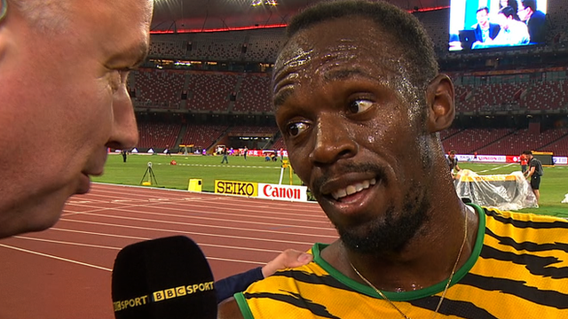 Usain Bolt speaks to the BBC after his 200m victory at the World Championships