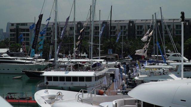 Yachts at a marina in Singapore
