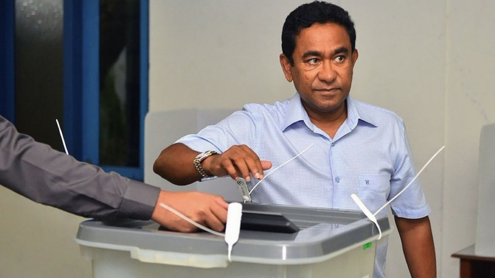 Maldives President Abdulla Yameen voting at a polling station in the capital, Male
