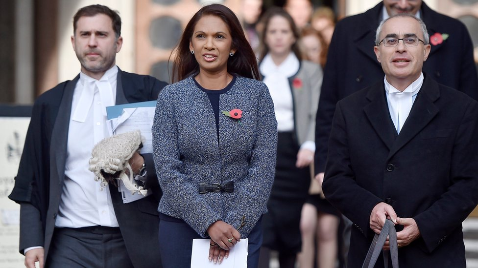 Lead claimant Gina Miller with her lawyers outside the High Court
