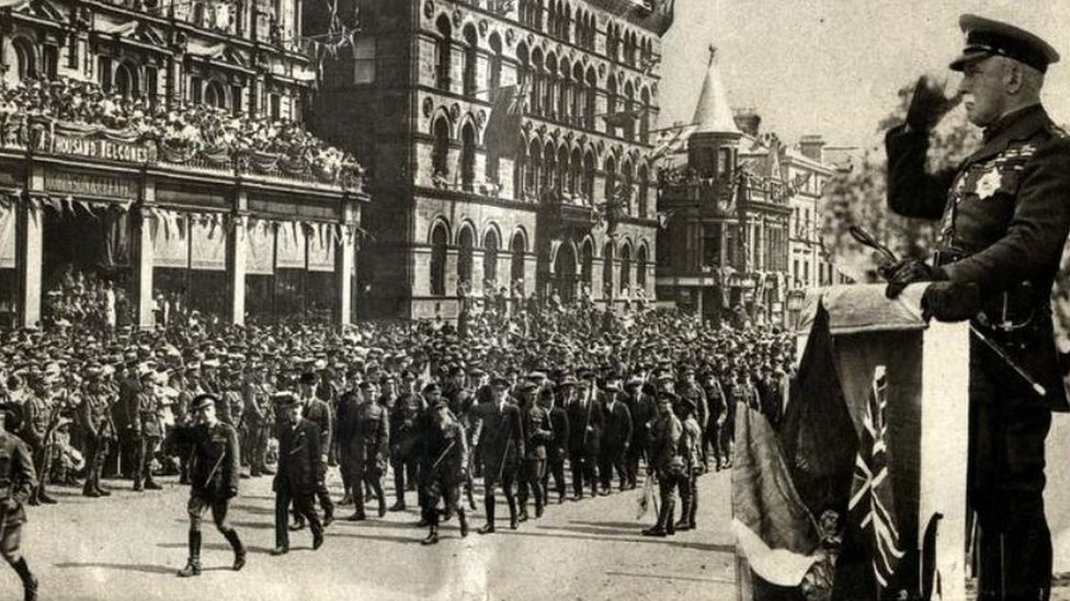 A parade took place in Belfast city centre in August 1919 to officially celebrate the armistice