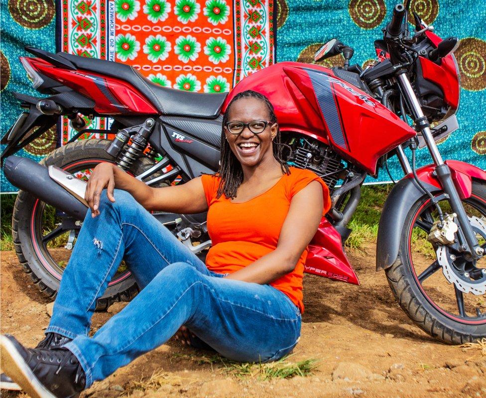 Kenyan biker Amanya Kuchio