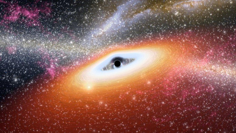 Impresión artística de un agujero negro
