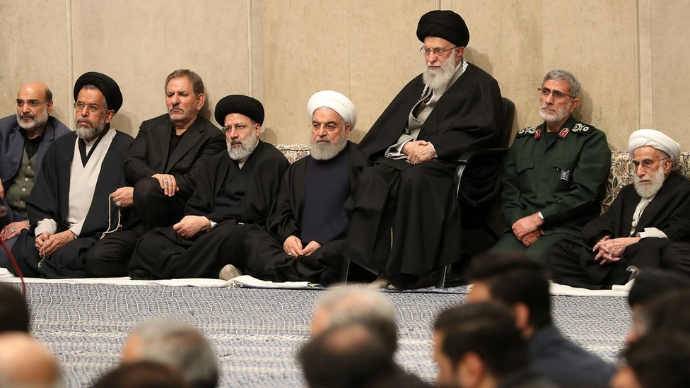 Iranian Supreme Leader Ayatollah Ali Khamenei (R3), Quds Force commander Gen Esmail Qaani (R2), Iranian President Hassan Rouhani (R4), Judiciary chief Ebrahim Raisi (L4), chairman of the Assembly of Experts Ahmad Jannati (R) attend a memorial for Qasem Soleimani in Tehran, Iran on 9 January 2020