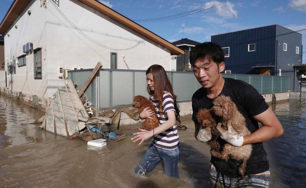 Inundaciones en Kurashiki.