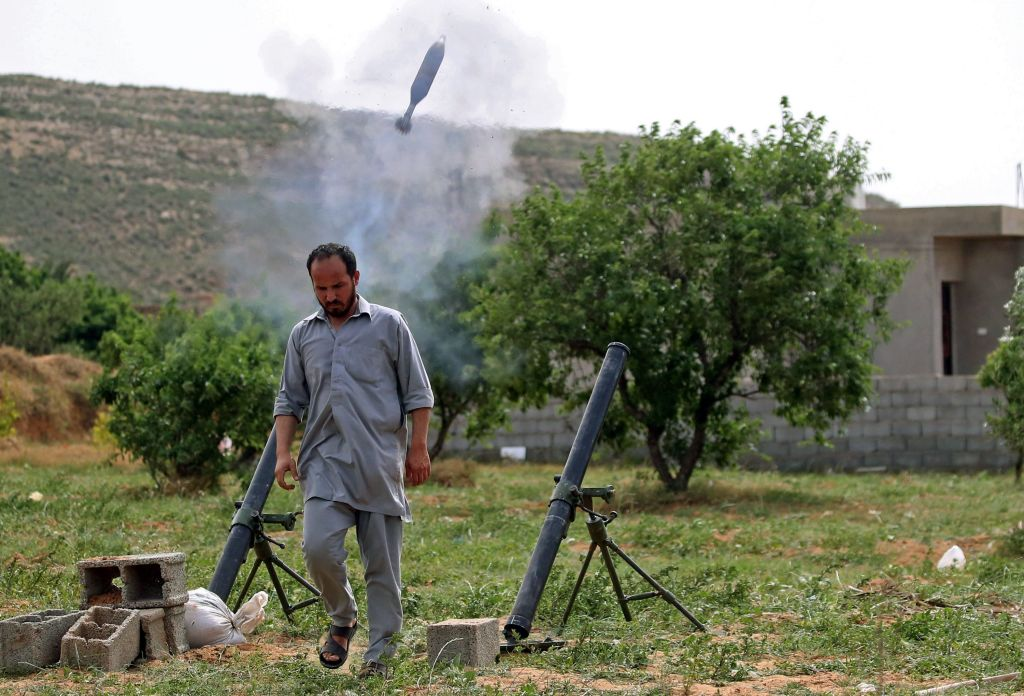 Mortar being fired by GNA forces towards Tarhuna in April 2020