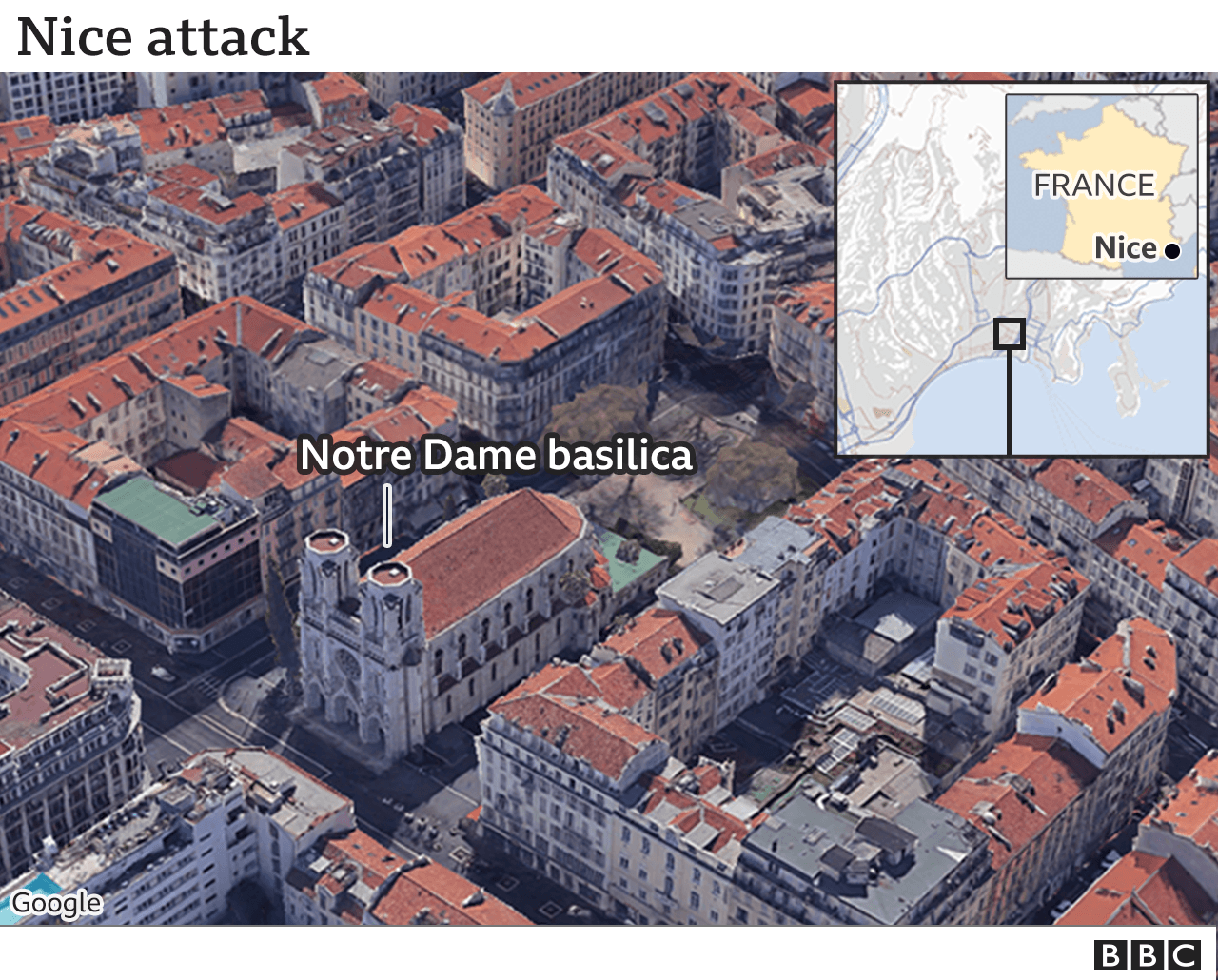 Map showing Notre Dame basilica