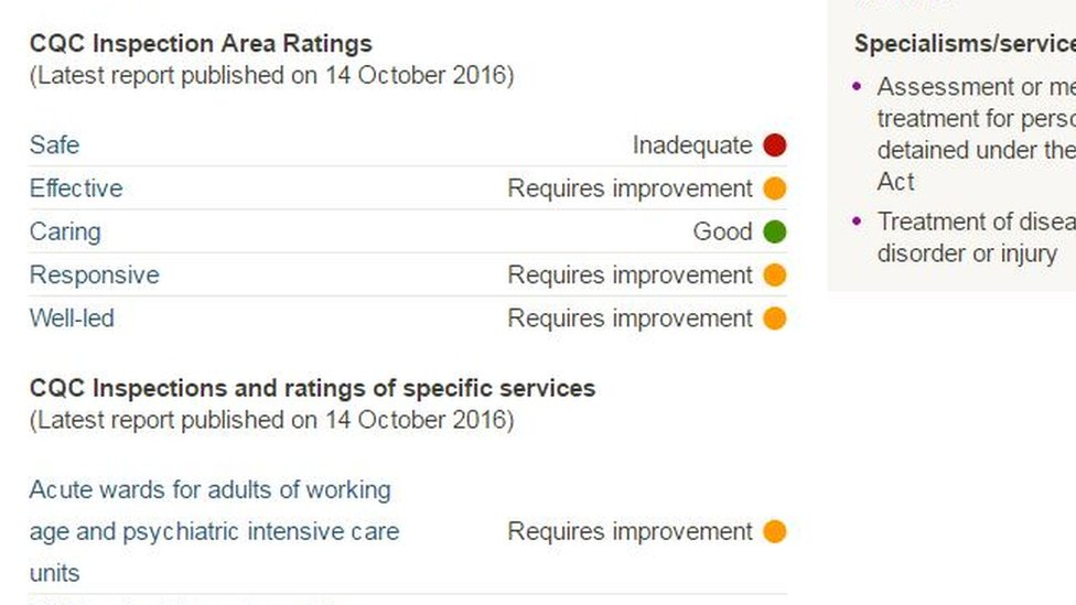 Screengrab of CQC inspection report