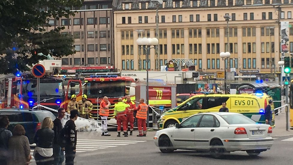 Eyewitness photograph shows fire and emergency crews at a cordoned-off junction in Turku