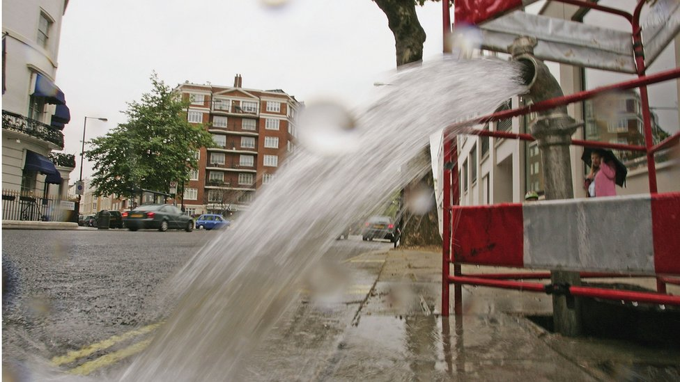 Burst pipe in central London