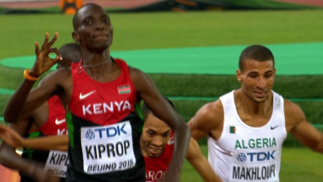 Kenya's Asbel Kiprop celebrates as she crosses the line in the the 1500m