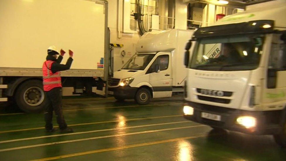 Lorries on ferry