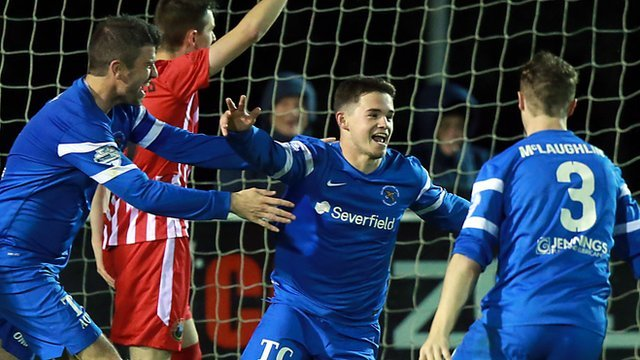 Ballinamallard's Michael McCrudden celebrates scoring against Warrenpoint.