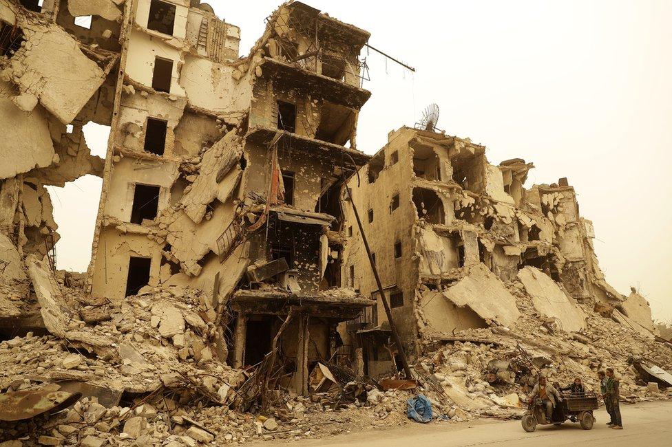 Destruction in Aleppo, in March 2017