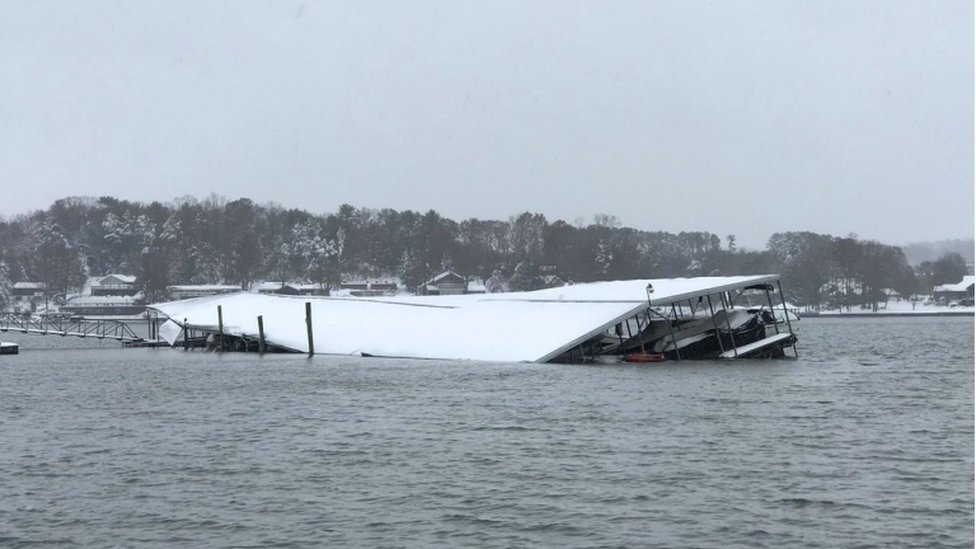 A boathouse in North Carolina destroyed by the storm