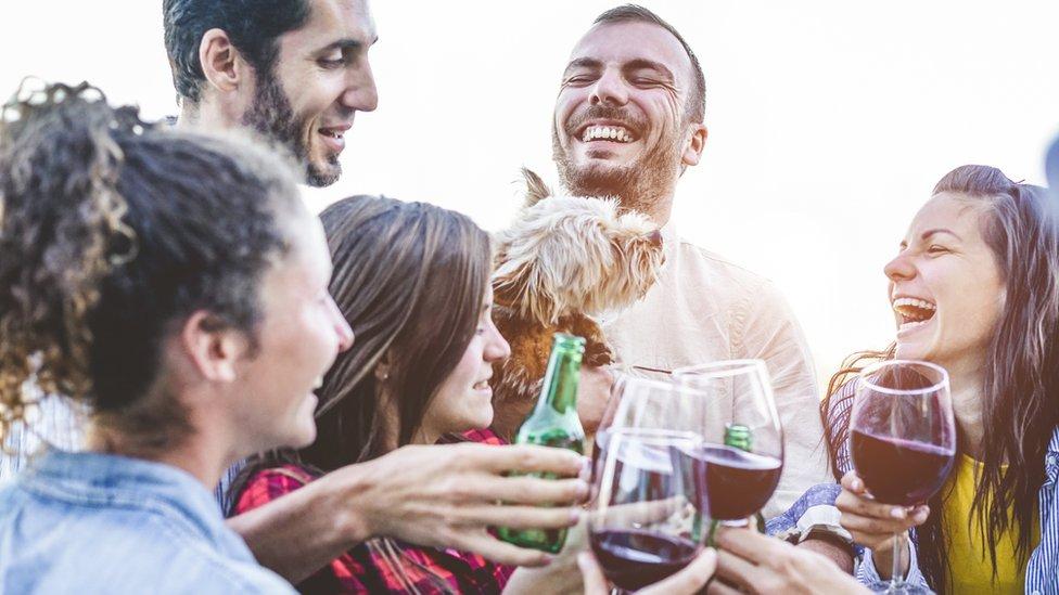 Grupo de amigos bebiendo alcohol.