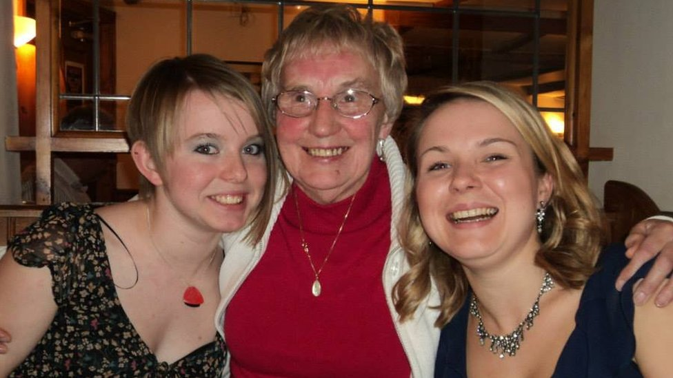 Doreen Dunn with her two granddaughters in 2010