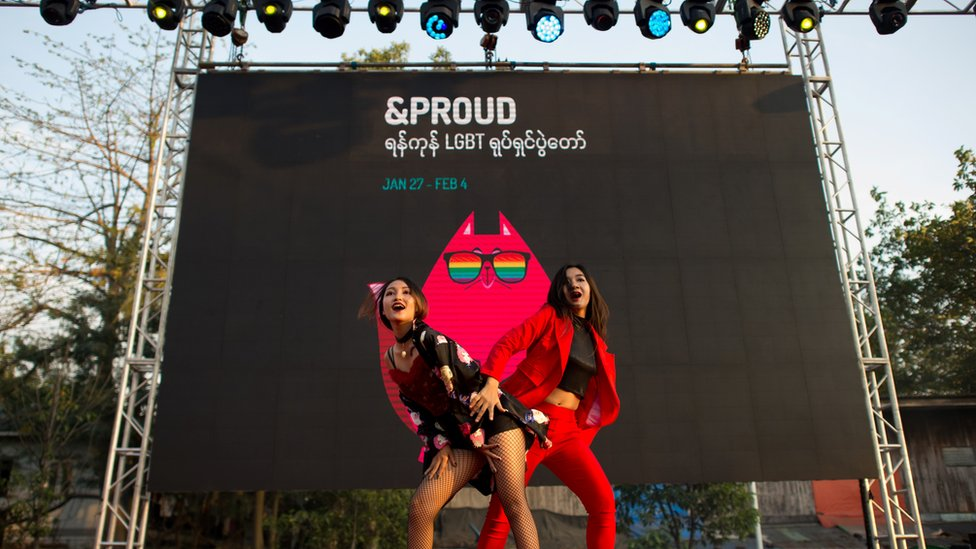 This photo taken on January 28, 2018 shows performers on stage during the '&Proud' LGBT festival' in Yangon