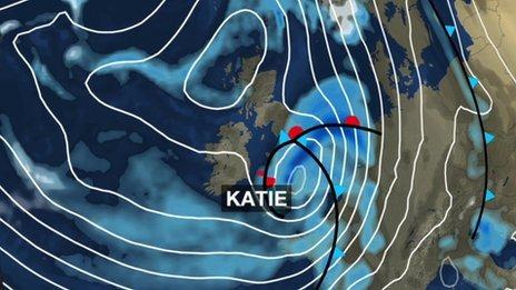 Pressure chart showing storm Katie