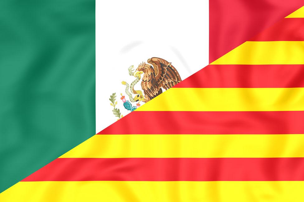 Banderas de México y Cataluña