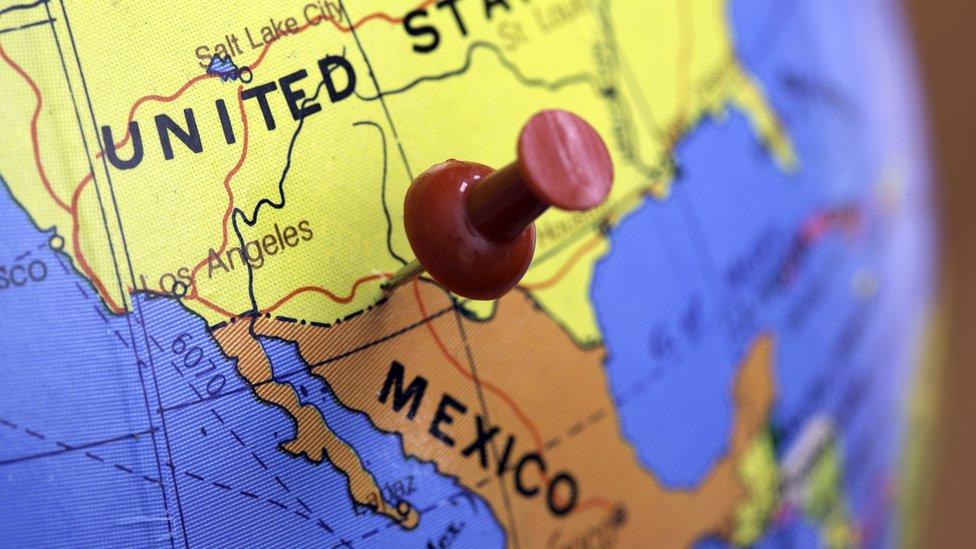 Mapa de Estados Unidos y México.