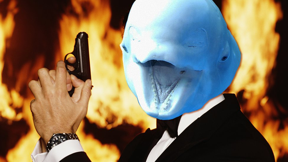 A beluga whale's head on James Bond's body