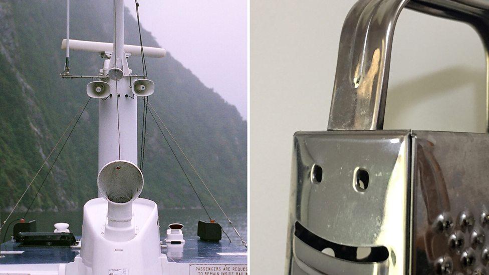 Un barco que parece expresar sorpresa, y el costado de una rallador de queso que parece tener una sonrisa amplia