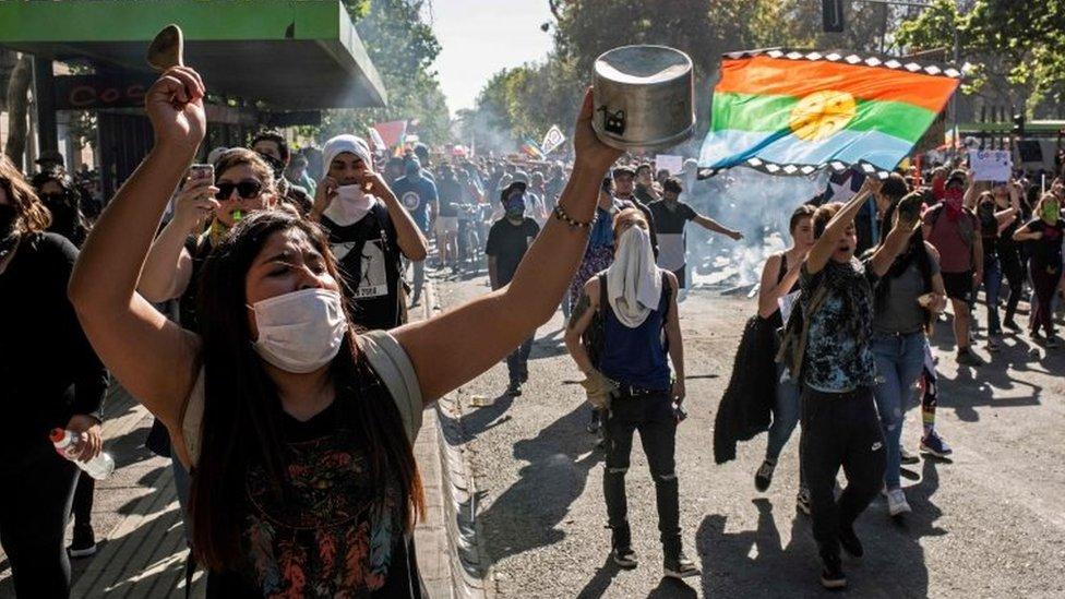 Manifestantes en Santiago