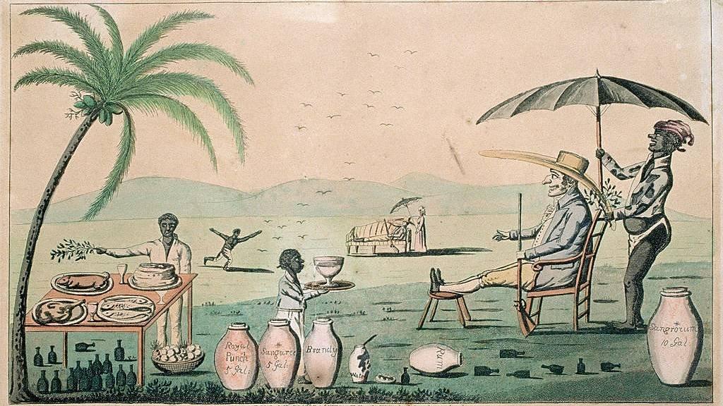 Caricatura del siglo XIX satirizando el gobierno colonial en Jamaica