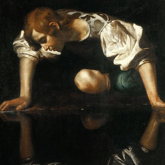 Artwork showing Narcissus staring at himself