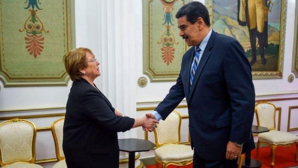 Michellet Bachelet con Nicolas Maduro