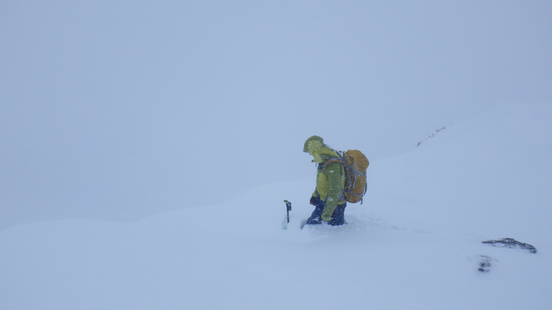 Deep snow at the top of a west aspect on Aonach Mor in Lochaber