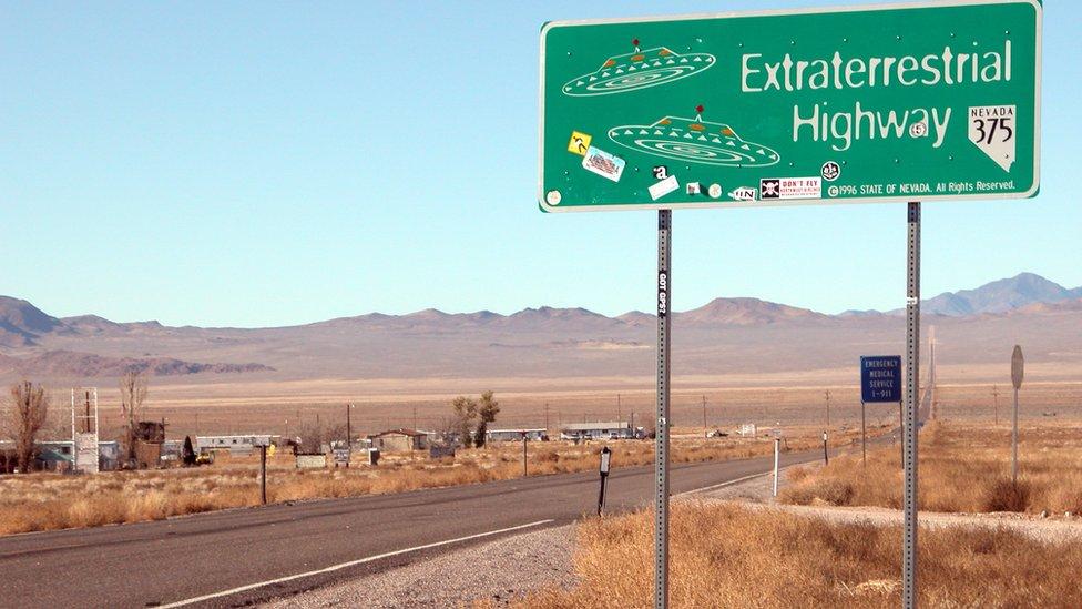 Sign of extraterrestrial highway in Nevada