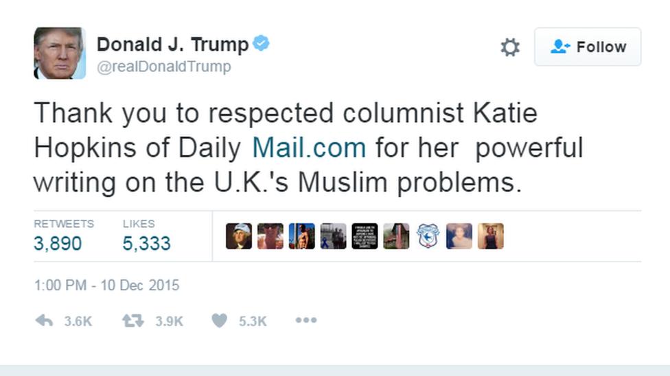 Donald Trump tweets Katie Hopkins