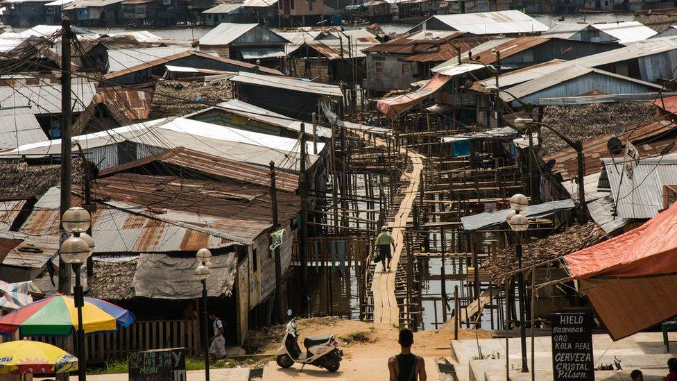 A street scene in Iquitos, Peru