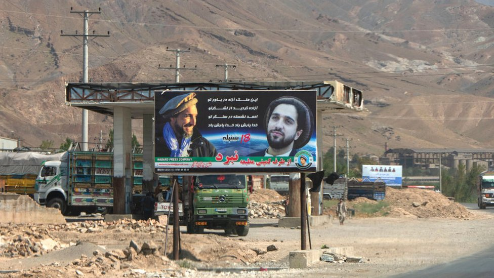 A billboard showing Ahmad Massoud with his father