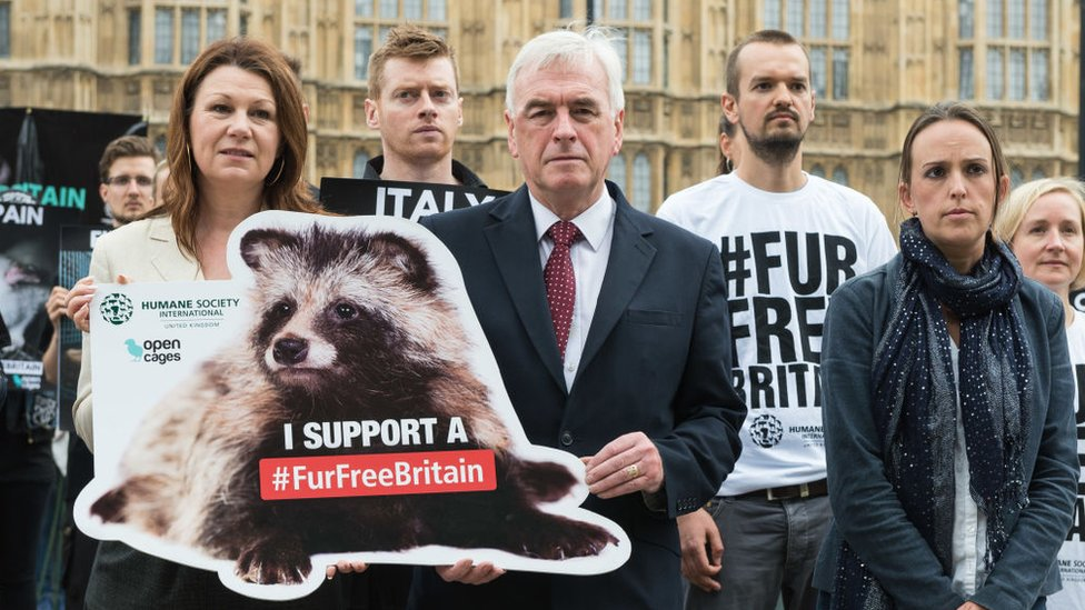 A fur protest outside the Houses of Parliament