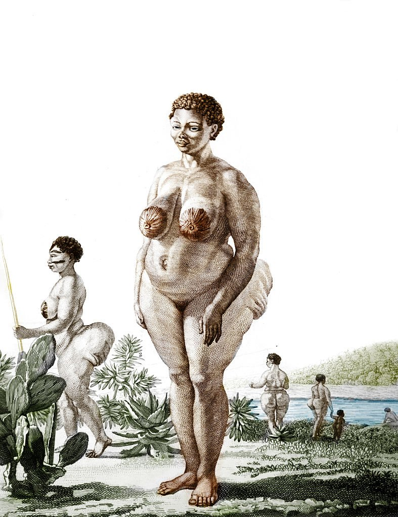 """An illustration of the """"Hottentot Venus"""" from 1815"""